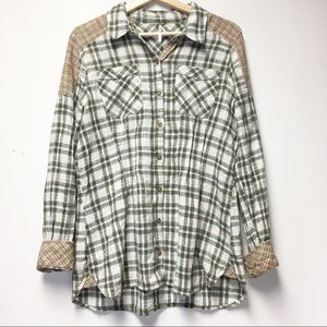 Free People Plaid Pleated Button Down Shirt Sz M